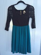 Ally fashion lace black aqua blue jersey zip back long sleeve dress size XS