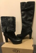"UGG Australia New Black Leather winter ""SAVOIE"" Tall High Heel Boots size 6.5"