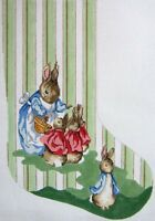 Needlepoint Handpainted Christmas STOCKING Peter Rabbit Family Scene 19""