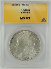 1888-P $1 Morgan Silver Dollar VAM-9B ANACS MS63 #6032815 COUNTER-CLASH NECK