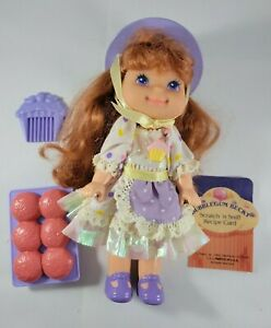 Vintage Cherry Merry Muffin Bubblegum Becky Doll w Muffin Tray, Comb, Recipe Car