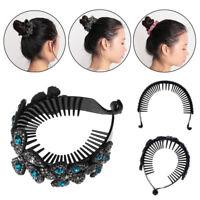 Floral Hairpin Rhinestone Twist Hair Claws Ponytail Bun Holder Bird Nest ~
