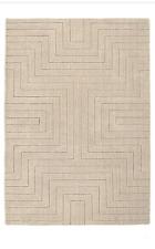 Origin Carved Maze Hand Tufted Modern Quality Wool Rug Beige 3 Sizes