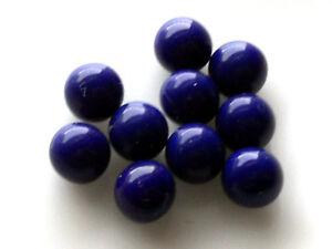 Vintage Glass Balls 5mm Eyes Blue Round No Hole Marbles Solid NOS Cobalt #1018