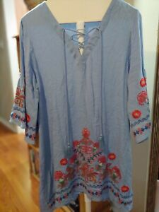 UMGEE Embroidered Bell Sleeve Tunic Top Large