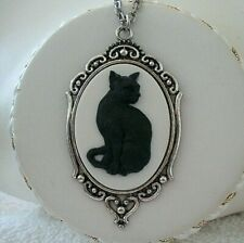 BLACK CAT CAMEO Silver PENDANT NECKLACE Black on White - Witch Halloween Gothic