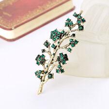 Broche Dorado Rama árbol Cristal Verde Esmeralda Fino Vintage XZ 4