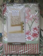 "ONE TIER PAIR ORCHARD SCARSDALE FLOWERED & PLAID CURTAINS 60"" WIDE & 36"" LONG"