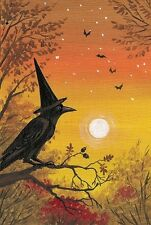 4X6 HALLOWEEN POSTCARD PRINT LE 5/100 RYTA WITCH VINTAGE STYLE SURREAL CROW