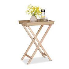 Relaxdays 10021250 Tavolino con Vassoio removibile legno Beige 38.5x97x77.5 C
