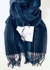 Paul Smith Men Scarf Made In England College Wool Navy