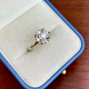 ANTIQUE 14K WHITE GOLD OLD MINE CUT ~4.6 MM .40 CT DIAMOND W/ .20 CTTW RBC HALO