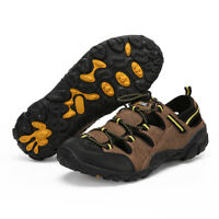 2019 Mens Leather Sandals Hiking Closed Toe Lock Lace Beach Water Shoes Pumps