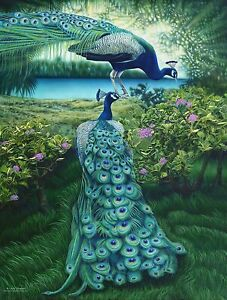 A PAIR Of PEACOCKS Sunsout Puzzle 500 Pieces 18x24 USA Artist Larry Taugher NEW
