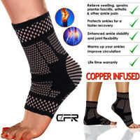 Copper Ankle Support Brace Arthritis Compression Sleeve Foot Pain Relief Sprain