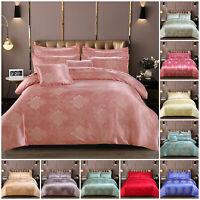 Luxury Satin Silk Bedding Set Jacquard Duvet Quilt Cover Set Double & King Size