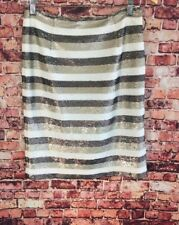Worth Ivory Khaki Brown Sequin Striped Pencil Skirt Size 2