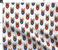 German Shepherd Police Dog Patriotic Stars Red Fabric Printed by Spoonflower BTY