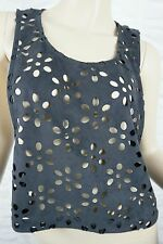 T by BETTINA LIANO black floral laser cut cropped tank singlet top size 8 EUC