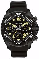 Bulova Men's 98B243 Sea King UHF Chronograph Black Dial Watch with Silicone Band