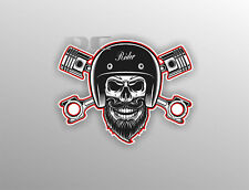 Biker Skull Sticker Motorbike Vintage Custom Bobber Chopper Decal #a0054