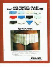 PUBLICITE ADVERTISING 027  1980  Eminence  slip sous vetements homme tennis