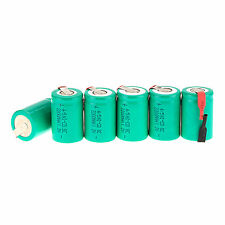Lot 6Pcs NiCd 4/5 SubC Sub C 1.2V 2200mAh Rechargeable Battery with Tab Green