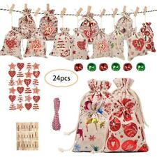 Christmas Countdown Gift Bag 1-24 Days Pocket Advent Calendar Xmas Party Decor