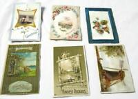 6 Antique Postcards - Arts And Crafts Squirrel Windmill Birds Boats Flowers