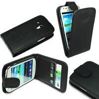 For Samsung Galaxy S3 Mini i8190 Black Flip Leather Case Cover + Screen