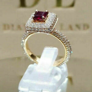 Fashion Women Red Topaz Ring 18K Yellow Gold Plated Wedding Jewelry Gift Sz 6