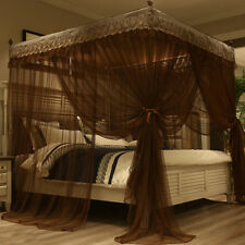 AU Thinken Double 4 Four Corner Bed Mosquito Net & Bracket For Queen Size Canopy