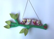 Children's room mesmerizing decoration-handcrafted felt hangings - owl family