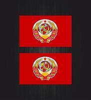 2x Aufkleber sticker russia sowjetunion flagge fahne udssr russland wappen cccp