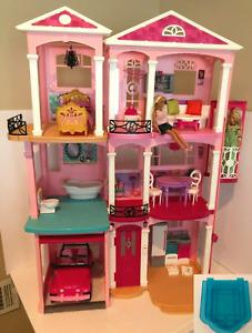 Barbie Dream House 2015 Doll House 3 Story Elevator Garage Furniture Pool Dolls
