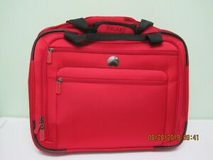 """Delsey Helium Sky Softside 18"""" Under-seat wheeled tote; red"""