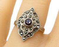 925 Sterling Silver - Vintage Centered Garnet & Marcasite Band Ring Sz 7 - R6524