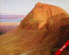 MASADA & DEAD SEA LANDSCAPE FORTRESS OF ANCIENT ISRAEL PAINTING ART CANVAS PRINT