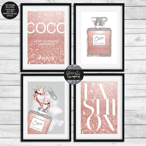 Fashion Quote pink / rose gold beauty room girls bedroom home decor Art print