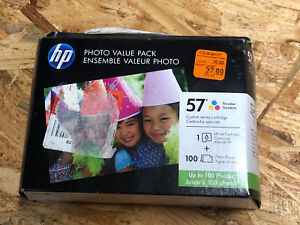 HP 57 Tri-Color Ink Cartridge w/ 100 Sheets 4x6 Photo Paper - New Sealed Box