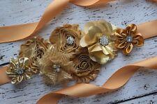 Flower Sash, gold Sash,#2 , flower Belt, maternity sash