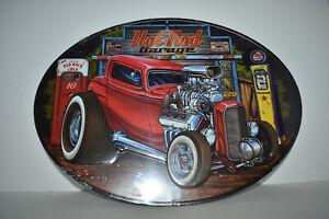 """Hot Rod Garage Oval 16"""" x 12"""" Metal Sign - Garage or Man Room"""