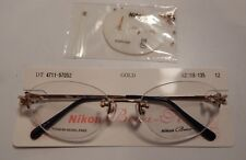 68b4aee4401 Nikon 4711 Gold 52 18 Titanium 3 Pc. Rimless Eyeglass Frame NOS  281