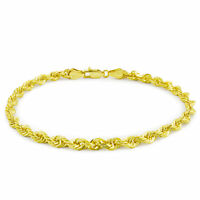 """10k Yellow Gold Real Authentic 3mm Diamond Cut Rope Chain Bracelet Link WOMEN 7"""""""