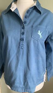 Toggi Equestrian 100% cotton Pullover Shirt Top Size 14 Horse riding Blue
