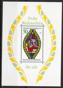 Germany 1976 MNH Block 13 Sc B537  Nativity Christmas souvenir sheet **