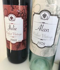 2x Personalised Wine Bottle Labels Birthday Wedding Celebration Adhesives