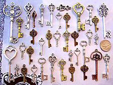 128 Antique Look Old Art Skeleton Keys Lot Wedding Heart Lock Steampunk A