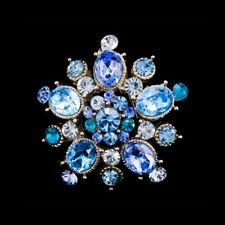 Handmade Aqua 3.5cm Swarovski Elements Silver Vintage Crystal Brooch 01A