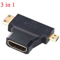 3 in 1 Hot Micro HDMI Male HDMI Male to HDMI 1.4 Female Cable Adapter Converter